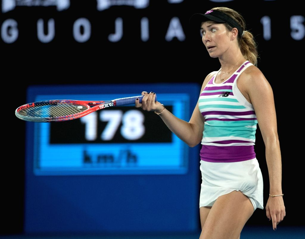 MELBOURNE, Jan. 24, 2019 - Danielle Collins of the United States reacts during the women's singles semifinal match between Petra Kvitova of the Czech Republic and Danielle Collins of the United ...