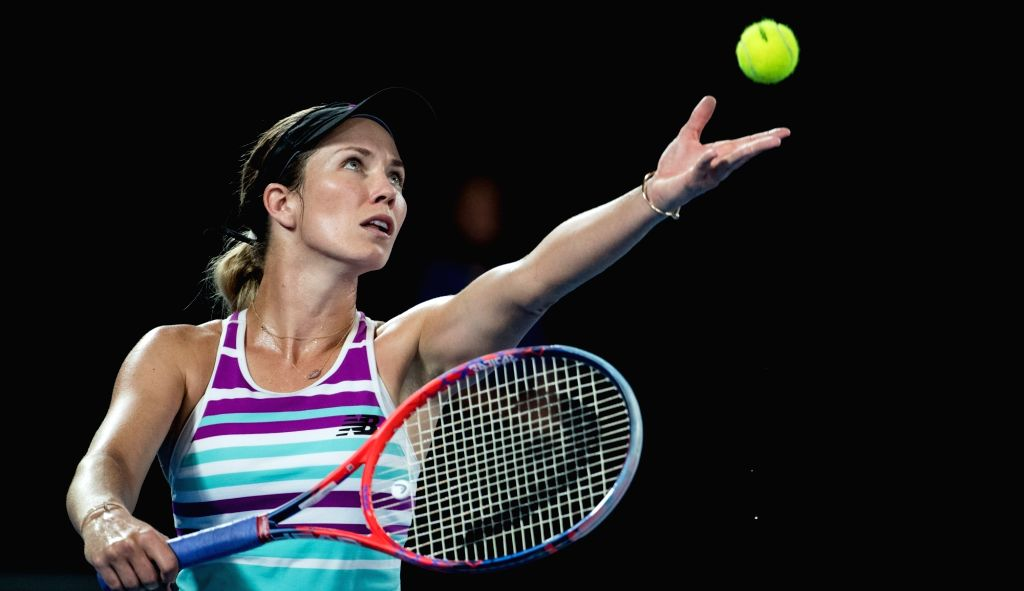 MELBOURNE, Jan. 24, 2019 - Danielle Collins of the United States serves during the women's singles semifinal match between Petra Kvitova of the Czech Republic and Danielle Collins of the United ...