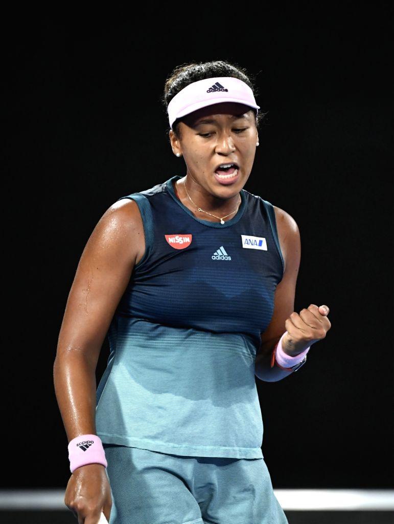 MELBOURNE, Jan. 24, 2019 - Naomi Osaka reacts during the women's singles semifinal match between Naomi Osaka of Japan and Karolina Pliskova of the Czech Republic at the 2019 Australian Open in ...