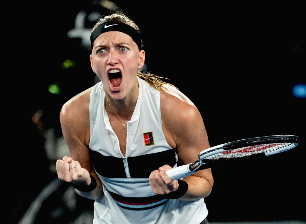 MELBOURNE, Jan. 24, 2019 - Petra Kvitova of the Czech Republic celebrates during the women's singles semifinal match between Petra Kvitova of the Czech Republic and Danielle Collins of the United ...
