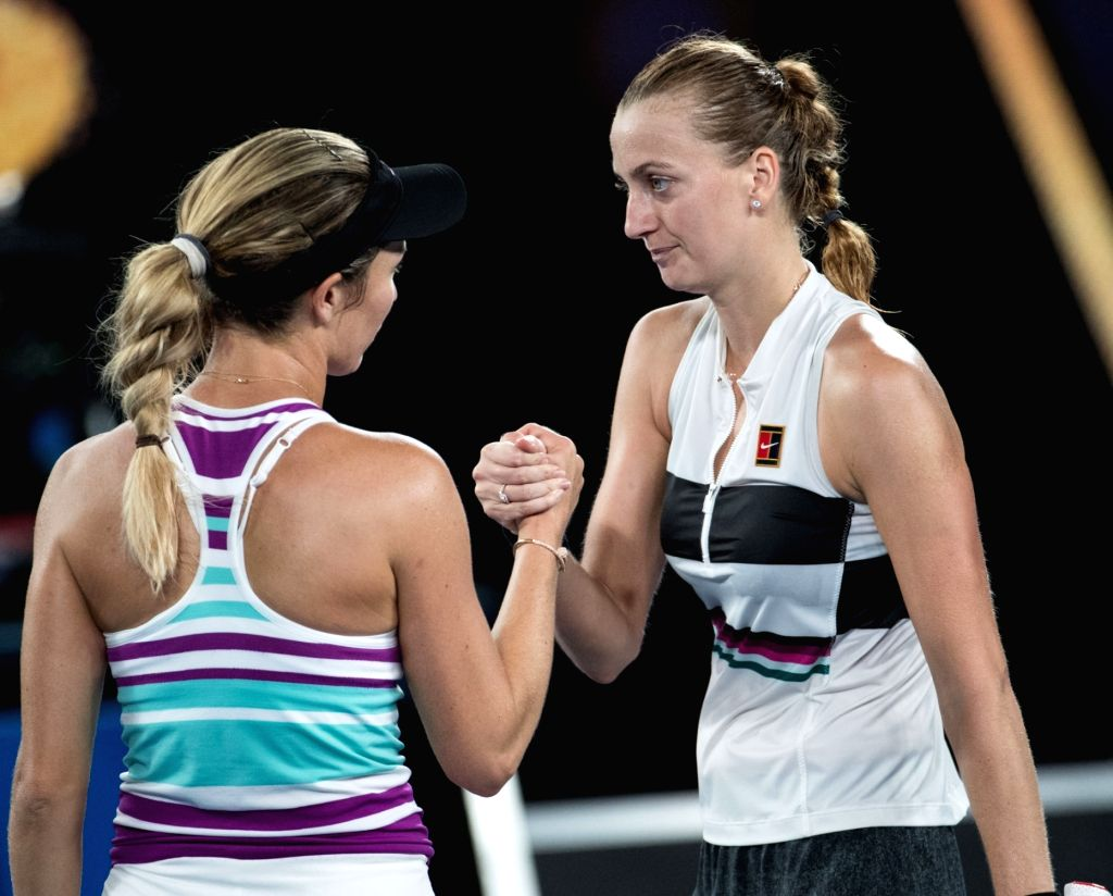 MELBOURNE, Jan. 24, 2019 - Petra Kvitova of the Czech Republic (R) shakes hands with Danielle Collins of the United States after the women's singles semifinal match between Petra Kvitova of the Czech ...