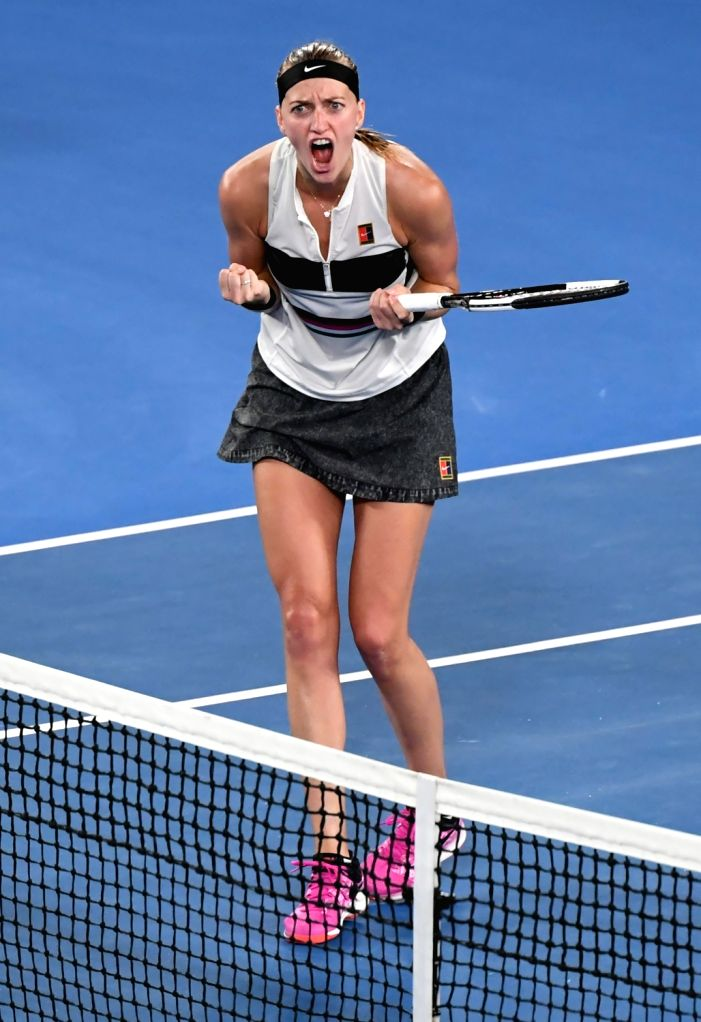 MELBOURNE, Jan. 24, 2019 - Petra Kvitova of the Czech Republic celebrates after the women's singles semifinal match between Petra Kvitova of the Czech Republic and Danielle Collins of the United ...