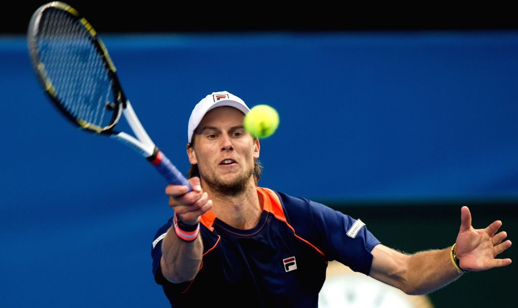 Andreas Seppi of Italy returns the ball during the men's singles fourth round match against Nick Kyrgios of Australia at the 2015 Australian Open tennis ...