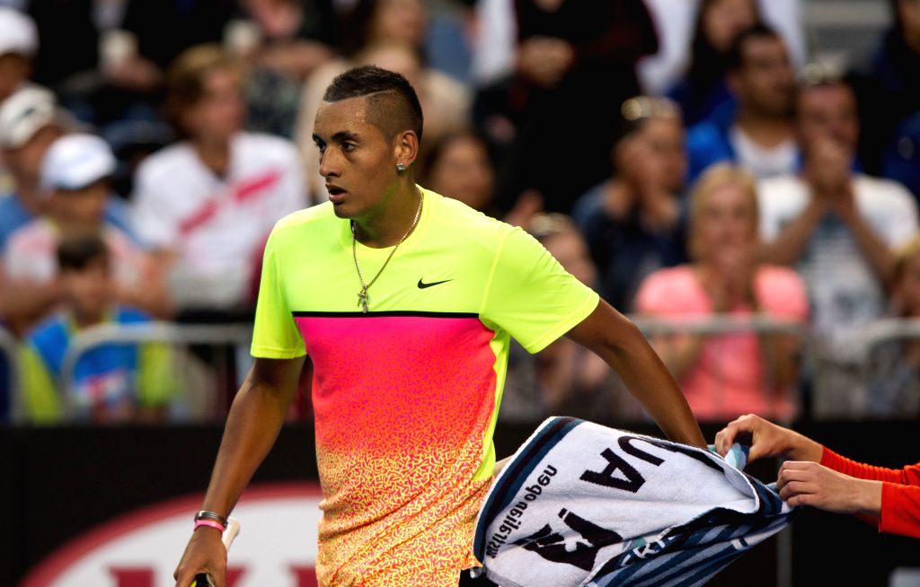 Nick Kyrgios of Australia reacts during the men's singles fourth round match against Andreas Seppi of Italy at the 2015 Australian Open tennis tournament at ...