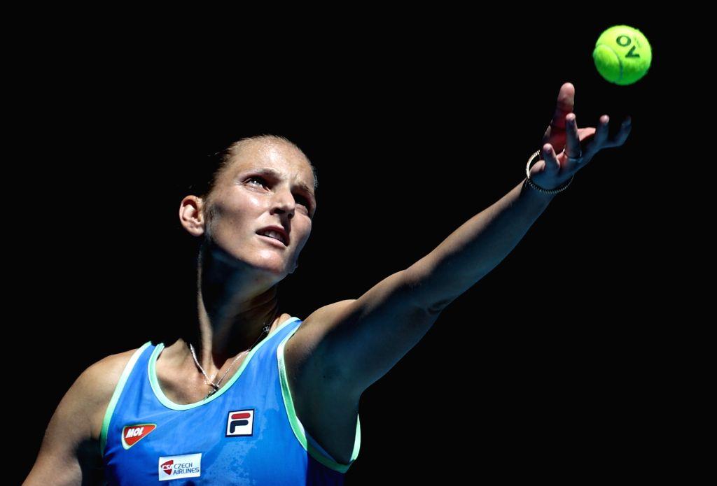 MELBOURNE, Jan. 25, 2020 (Xinhua) -- Karolina Pliskova of the Czech Republic competes during the women's singles third round match against Anastasia Pavlyuchenkova of Russia at the 2020 Australian Open tennis tournament in Melbourne, Australia, Jan.