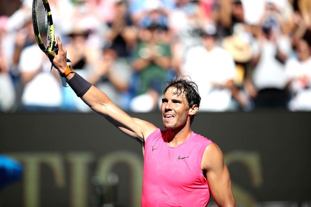 MELBOURNE, Jan. 25, 2020 (Xinhua) -- Rafael Nadal of Spain celebrates after the men's singles third round match against Pablo Carreno Busta of Spain at the Australian Open tennis championship in Melbourne, Australia on Jan. 25, 2020. (Xinhua/Bai Xuef
