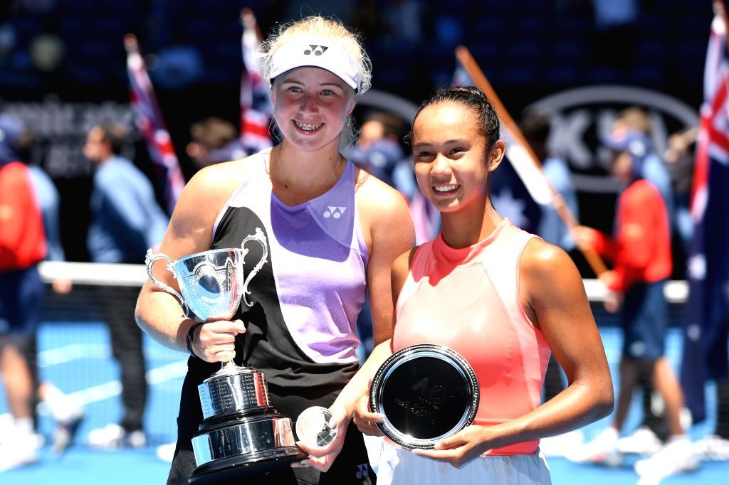 MELBOURNE, Jan. 26, 2019 - Clara Tauson(L) of Denmark and Leylah Annie Fernandez of Canada pose during the awarding ceremony after their Junior Girls' Singles final match at 2019 Australian Open at ...