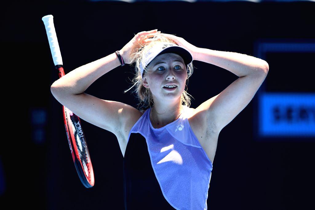 MELBOURNE, Jan. 26, 2019 - Clara Tauson of Denmark celebrates after the Junior Girls' Singles final match against Leylah Annie Fernandez of Canada at 2019 Australian Open at Melbourne Park in ...