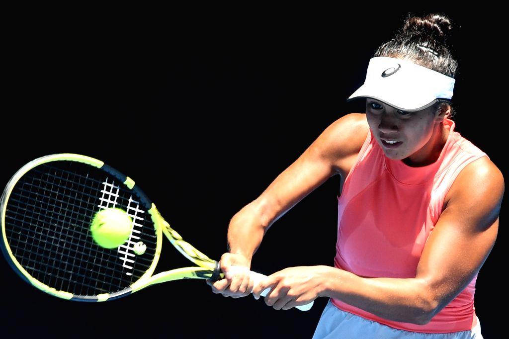 MELBOURNE, Jan. 26, 2019 - Leylah Annie Fernandez of Canada hits a return during the Junior Girls' Singles final match against Clara Tauson of Denmark at 2019 Australian Open at Melbourne Park in ...