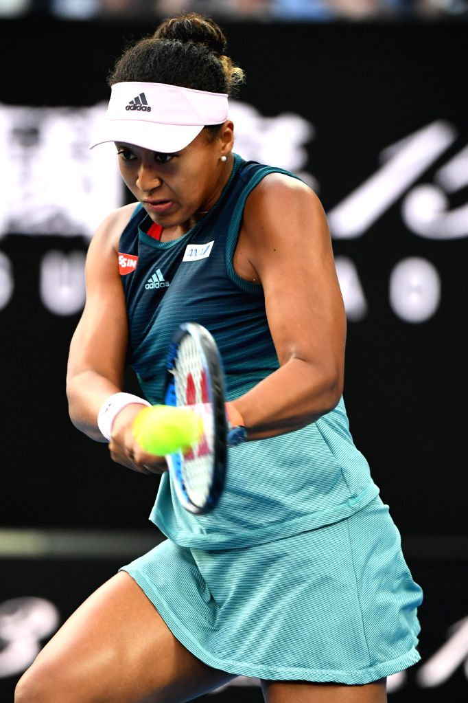 MELBOURNE, Jan. 26, 2019 - Naomi Osaka of Japan hits a return during the women's singles final match between Naomi Osaka of Japan and Petra Kvitova of the Czech Republic at 2019 Australian Open in ...