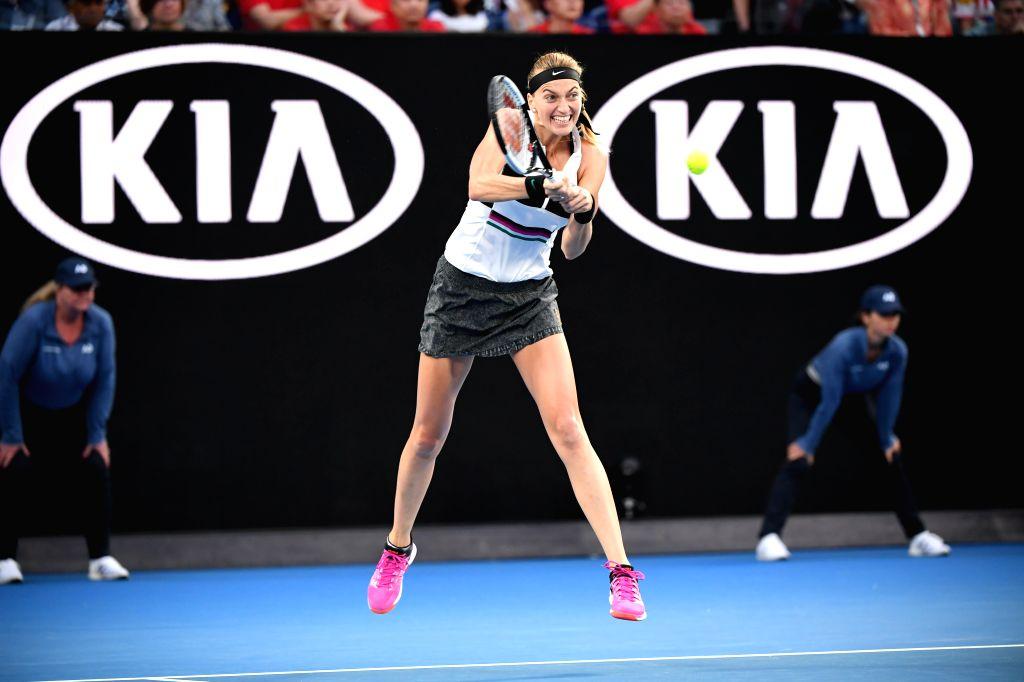 MELBOURNE, Jan. 26, 2019 - Petra Kvitova of the Czech Republic hits a return during the women's singles final match between Naomi Osaka of Japan and Petra Kvitova of the Czech Republic at 2019 ...