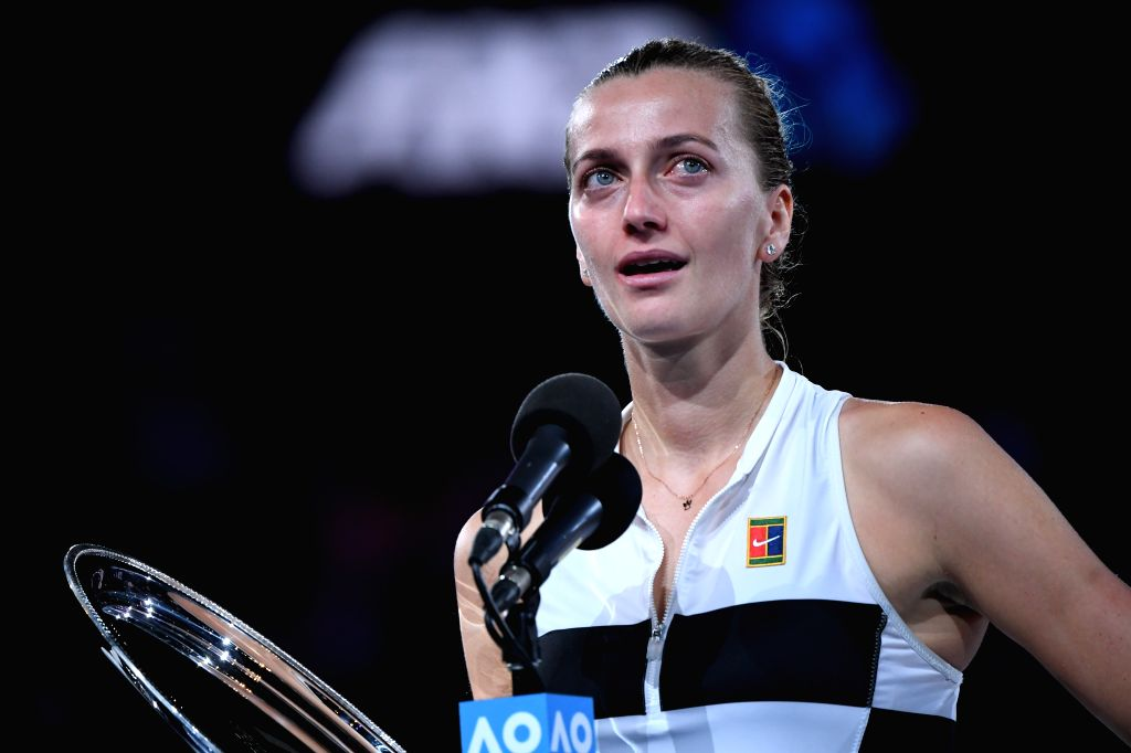MELBOURNE, Jan. 26, 2019 - Petra Kvitova of the Czech Republic reacts during the trophy awarding ceremony after the women's singles final match between Naomi Osaka of Japan and Petra Kvitova of the ...