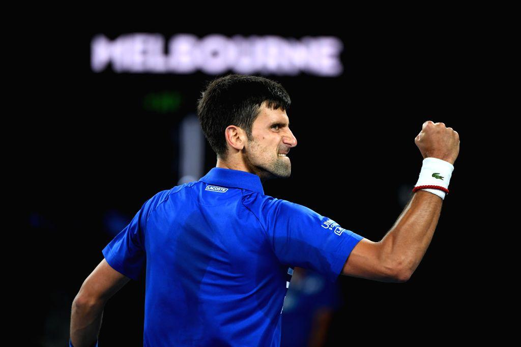 MELBOURNE, Jan. 27, 2019 (Xinhua) -- Novak Djokovic of Serbia reacts during the men's singles final match between Novak Djokovic of Serbia and Rafael Nadal of Spain at 2019 Australian Open in Melbourne, Australia, Jan. 27, 2019. (Xinhua/Lui Siu Wai/I