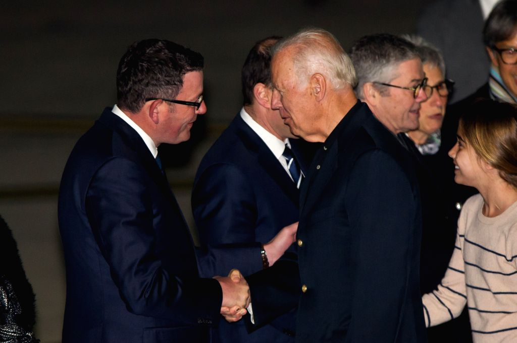MELBOURNE, July 16, 2016 - U.S. Vice President Joe Biden (R, front) shakes hands with Premier of Australia's Victoria Daniel Andrews (L, front) as he arrives in Melbourne, Australia, July 16, 2016. ... - Malcolm Turnbull