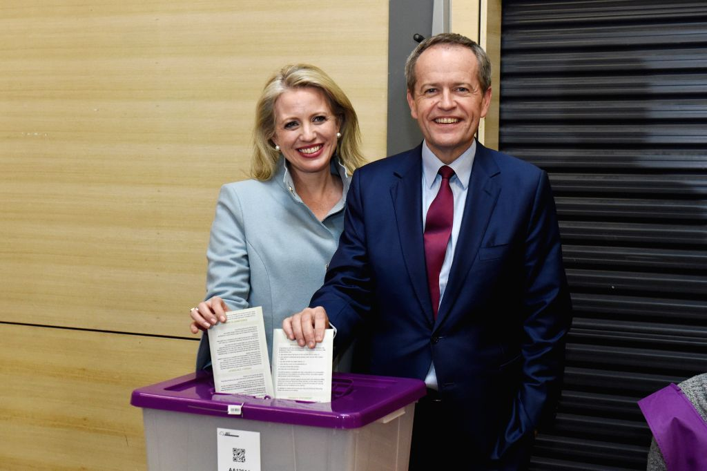 MELBOURNE, July 2, 2016 - Leader of the Australian Labor Party Bill Shorten and his wife Chloe Shorten cast their vote at Moonee Ponds West Public School polling station on 2016 Election Day in ...