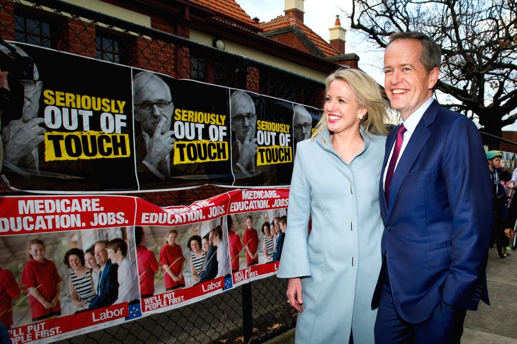MELBOURNE, July 2, 2016 - Leader of the Australian Labor Party Bill Shorten and his wife Chloe Shorten visit the Moonee Ponds West Public School polling station to cast their vote on 2016 Election ...