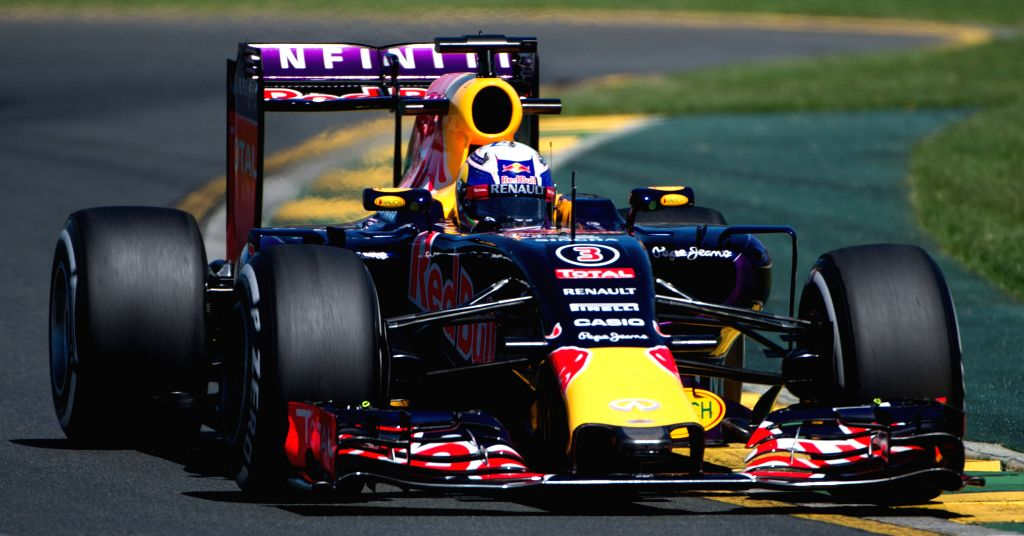 Infiniti Red Bull Racing Formula One driver Daniel Ricciardo of Australia races during the first practice session ahead of Australian Formula One Grand Prix at ...