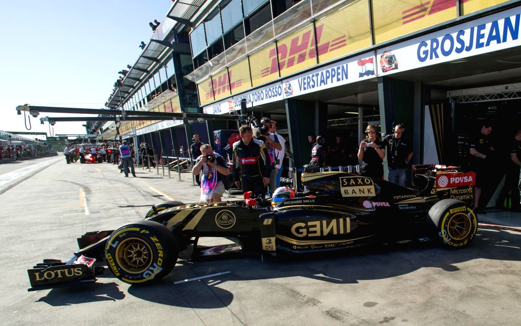 Lotus Formula One driver Romain Grosjean of France drives during the second practice session ahead of Australian Formula One Grand Prix at Albert Park in ...