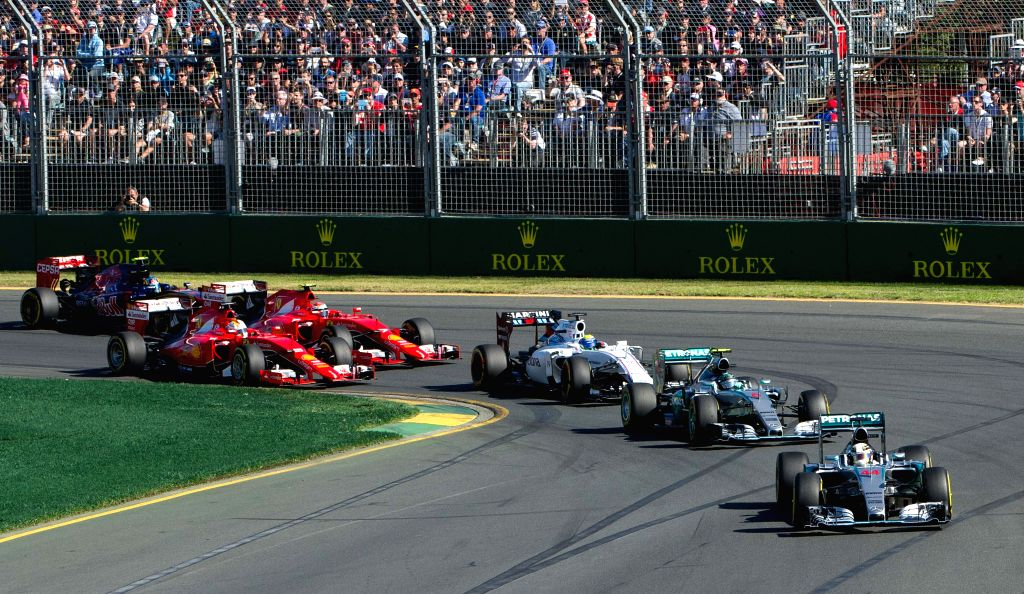 Mercedes AMG Petronas Formula One driver Lewis Hamilton (front) of Britain drives during the Australian Formula One Grand Prix at the Albert Park circuit in ...