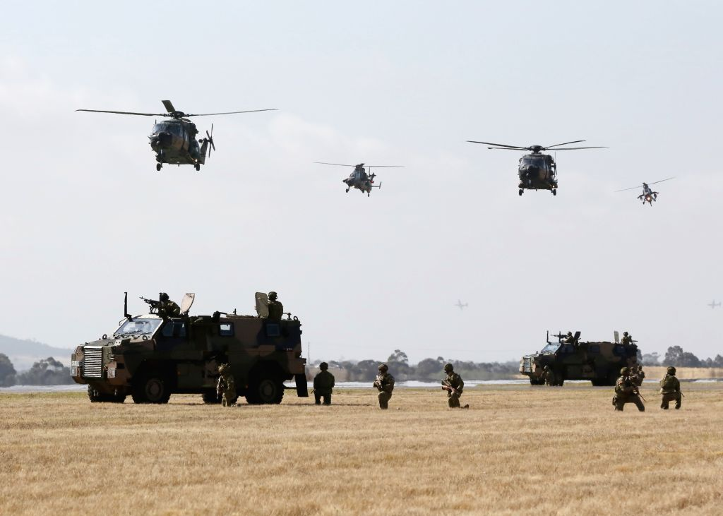 MELBOURNE, March 4, 2017 - Photo taken on March 3, 2017 shows counterterrorism exercises during the Australian International Aerospace and Defence Exposition at the Avalon Airfield, southwest of ...