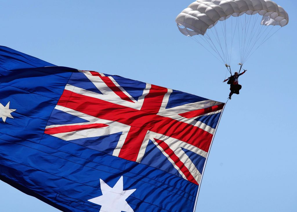 MELBOURNE, March 4, 2017 - Photo taken on March 3, 2017 shows skydiving performance during the Australian International Aerospace and Defence Exposition at the Avalon Airfield, southwest of ...