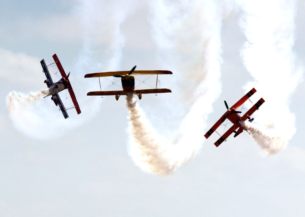 MELBOURNE, March 4, 2017 - Three planes perform during the Australian International Aerospace and Defence Exposition at the Avalon Airfield, southwest of Melbourne, Australia on March 3, 2017.