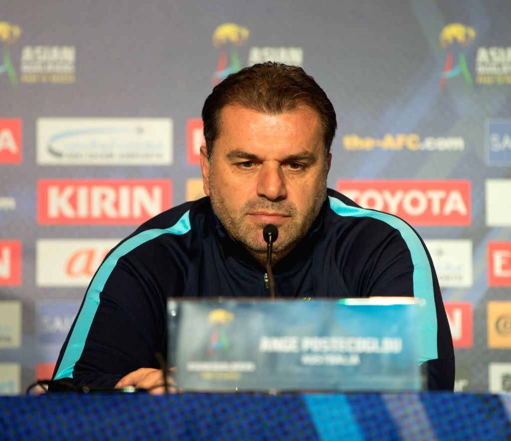 MELBOURNE, Oct. 10, 2016 - Australia's head coach Ange Postecoglou attends the press conference ahead of the FIFA World Cup 2018 qualifers match against Japan in Melbourne, Australia, Oct. 10, 2016.