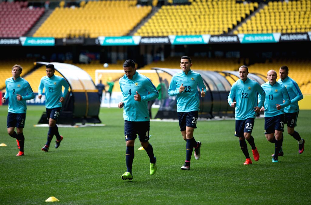 MELBOURNE, Oct. 10, 2016 - Australian player Tim Cahill (3rd L) attends a pre-match training before the 2018 FIFA World Cup qualifier match against Japan, in Melbourne, Australia, Oct. 10, 2016. No ...