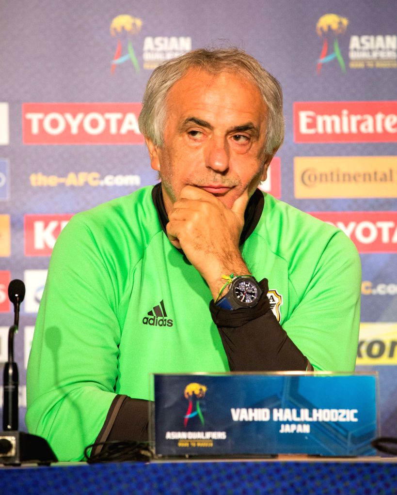 MELBOURNE, Oct. 10, 2016 - Japan's head coach Vahid Halihodzic attends the press conference ahead of the FIFA World Cup 2018 qualifers match against Australia in Melbourne, Australia, Oct. 10, 2016.