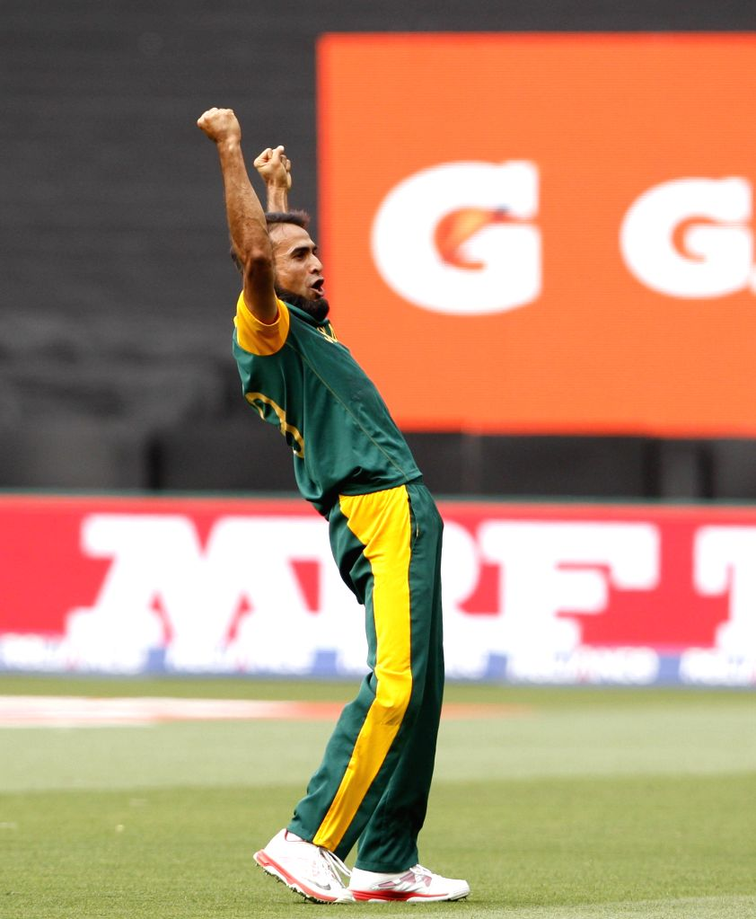 South African cricketer Imran Tahir celebrates fall of a wicket during an ICC World Cup 2015 match between India and South Africa at Melbourne Cricket Ground, Australia on Feb 22, 2015.