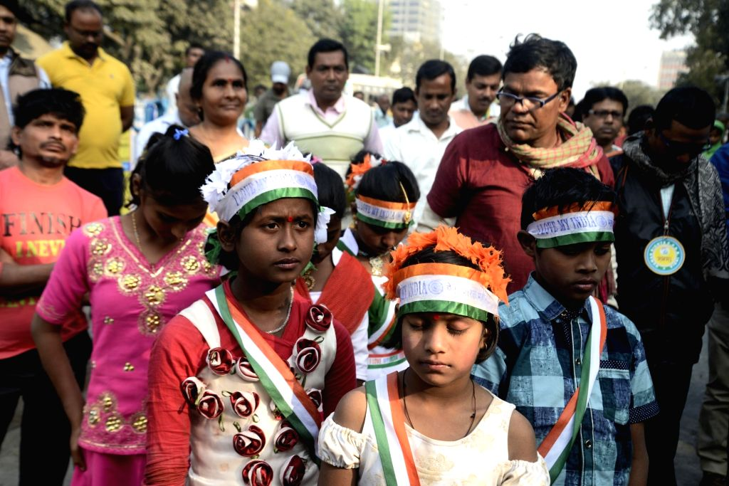 Member of Committee for Protection of Democratic Rights (CPDR) participates in a rally to observe International Human Rights Day in Kolkata on Dec 10, 2018.