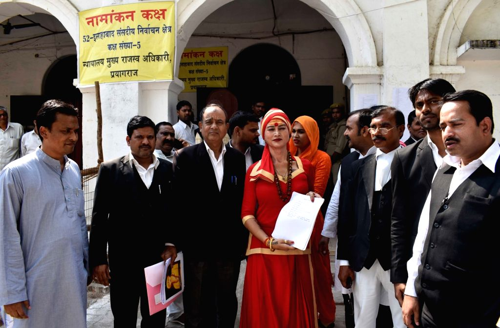 Member of 'Kinnar Akhada' and AAP's transgender candidate from Prayagraj, Mahamandaleshwar Bhawani Nath Valmiki, shows the nomination form after procuring it from the district collaborate ... - Bhawani Nath Valmiki