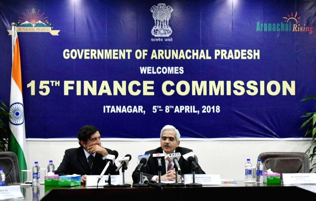 Member of the 15th Finance Commission Shaktikanta Das addresses a press conference in Itanagar, Arunachal Pradesh on April 6, 2018.