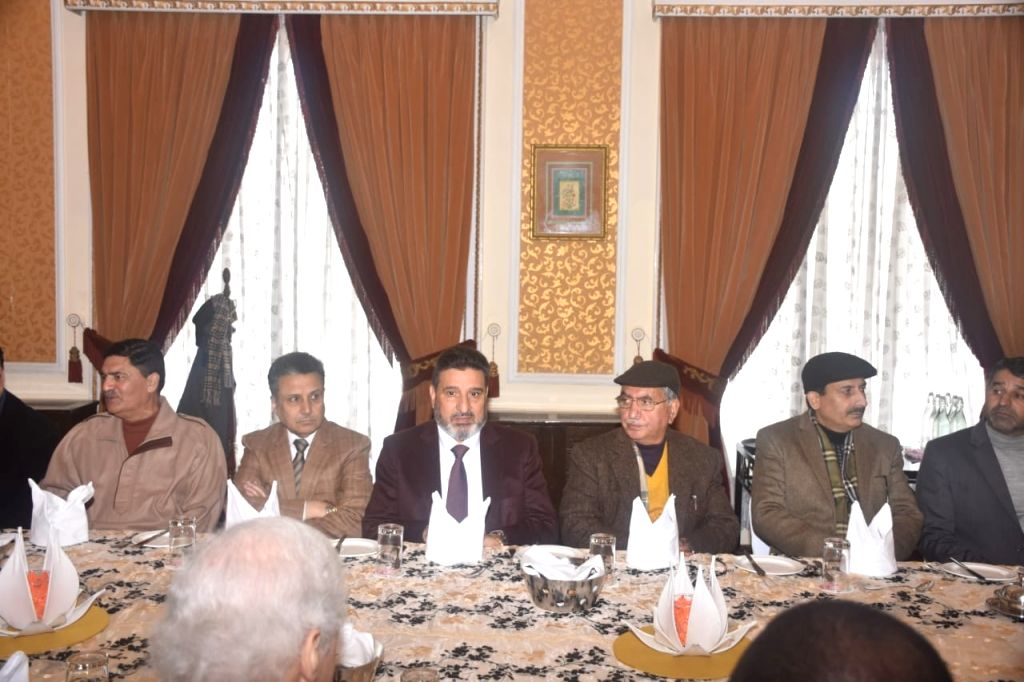 Members of a delegation of 17 foreign envoys who are in Srinagar to take stock of the ground situation in the Kashmir Valley, holds a meeting with members of civil society, in Srinagar on ...