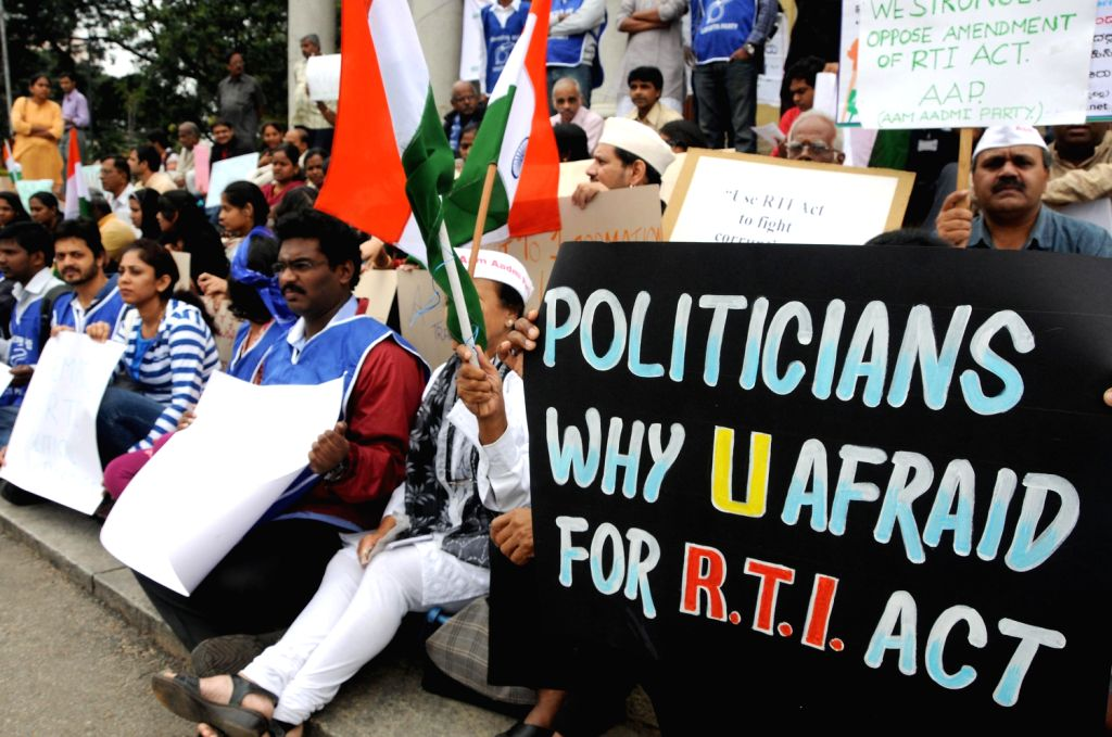 Members of Aam Admi Party protesting for RTI Act at Town Hall, in Bangalore on August 15, 2013. (Photo::: IANS)