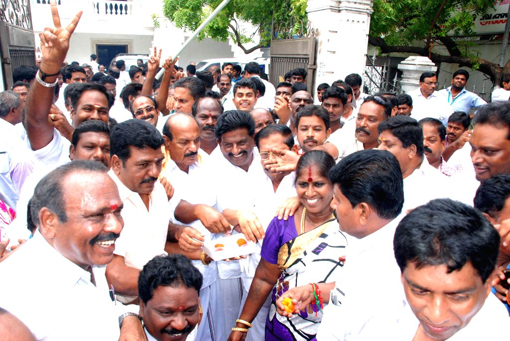 Members of AIADMK celebrate as Supreme Court allowed raising of water level in Mullaperiyar dam up to 142 feet quashing the law passed by the Kerala assembly on the Mullaperiyar dam, in Chennai on ...