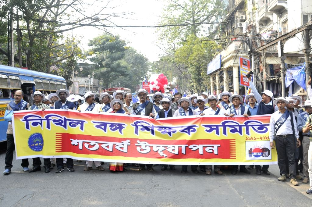 Members of All Bengal Teachers Association (ABTA) participate in a rally on the occasion of 100 years of ABTA, in Kolkata on Feb 6, 2020.