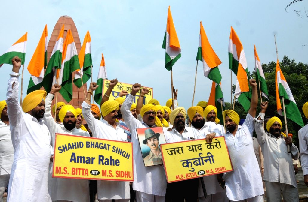 Members of All-India Anti-Terrorist Front (AIATF) participate in a rally on the eve of the 112th birth anniversary of freedom fighter Bhagat Singh at Jallianwala Bagh in Amritsar, on Sep ... - Bhagat Singh