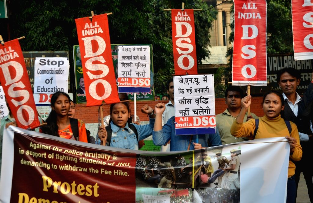 Members of All India Democratic Students' Organisation (AIDSO) stage a demonstration against the alleged police brutality on students during their protest against a hike in fees and some ...