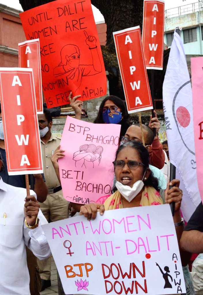 Members of All India Progressive Women Association staged a protest against the Central Government for the atrocities on the Women, in Bengaluru on Saturday 20th February 2021