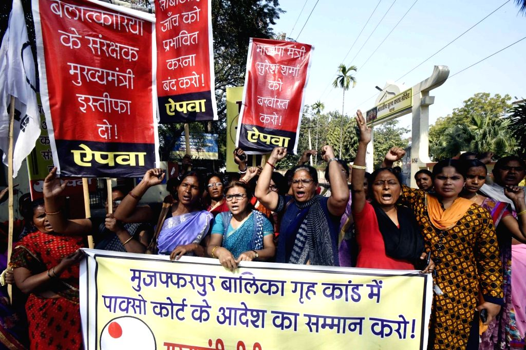 Members of All India Progressive Women's Association (AIPWA) stage a demonstration against Muzaffarpur Shelter Home Rape case in Patna on Feb 22, 2019.
