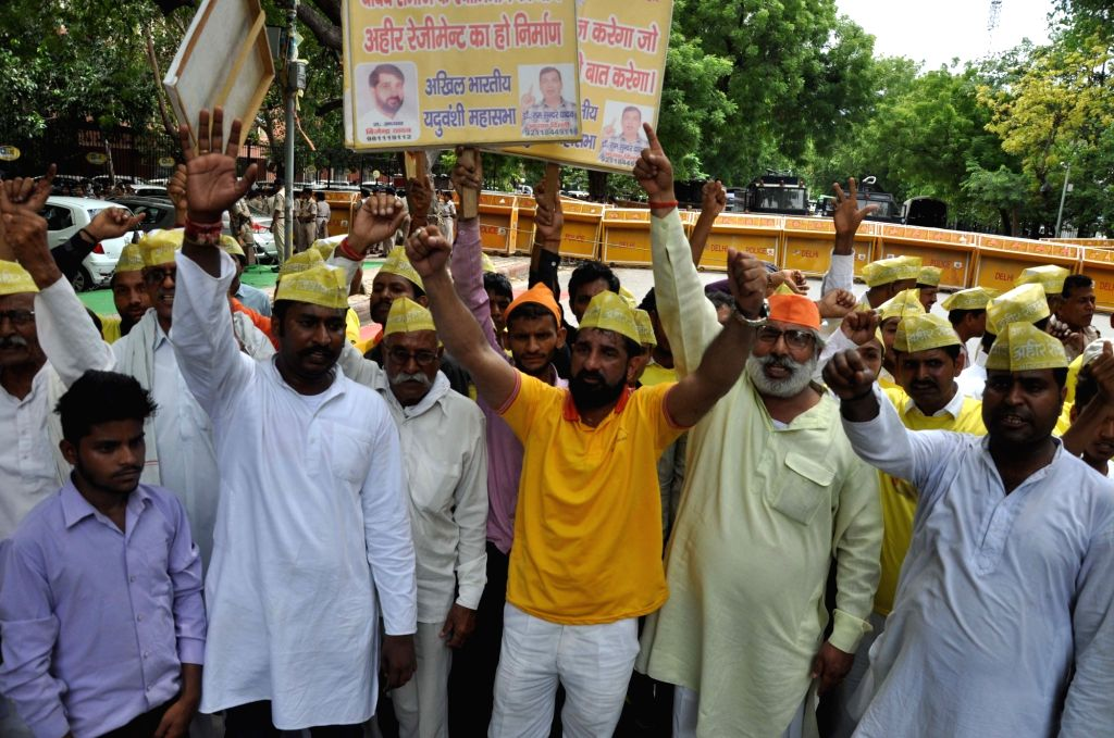 Members of All India Yadav Mahasabha stage a demonstration to press for the formation of Ahir regiment in the Army; in New Delhi on July 23, 2018. - Yadav Mahasabha