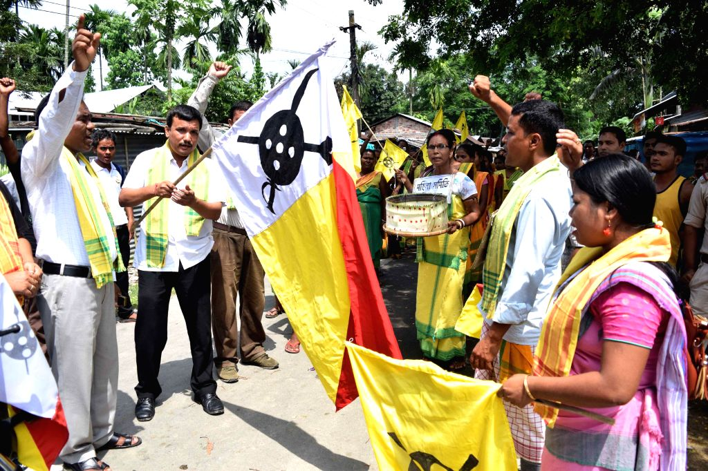 Members of All Koch-Rajbongshi Students Union (AKRSU) demonstrate to demand seizure of illegal arms in BTAD of Kokrajhar on Sept 12, 2014.