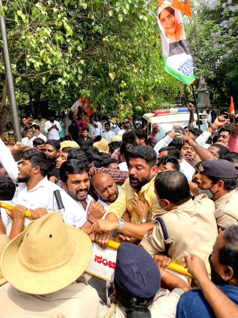 Members of Bengaluru City Youth Congress detained by Cubbon Park police personnel at Cubbon Park during their protesting and demanding to arrest of former Minister and Gokak MLA Ramesh Jarkiholi, in ...