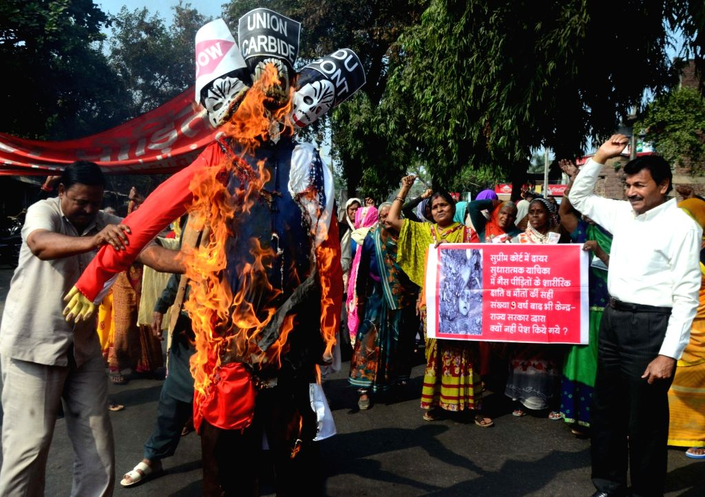 Members of Bhopal Gas Victims' Association stage a demonstration against Union Carbide on the 35th anniversary of Bhopal Gas Tragedy, in Bhopal on Dec 3, 2019.