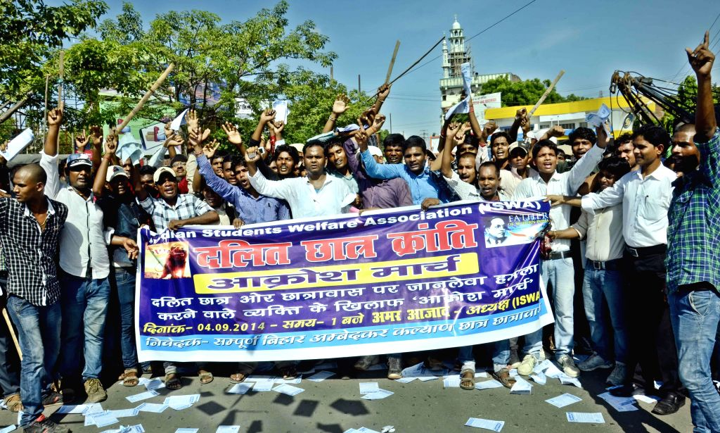 Members of Dalit Chatra Kranti stage a demonstration to press for their demands in Patna on Sept 4, 2014.