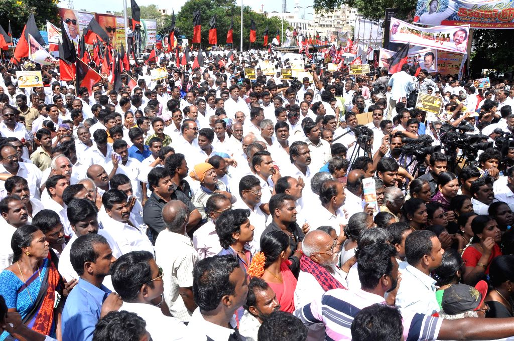 Members of DMK-backed Tamil Eelam Supporters Organisation (TESO) stage a demonstration in Chennai to press for their various demands in Chennai on Sept 3, 2014.
