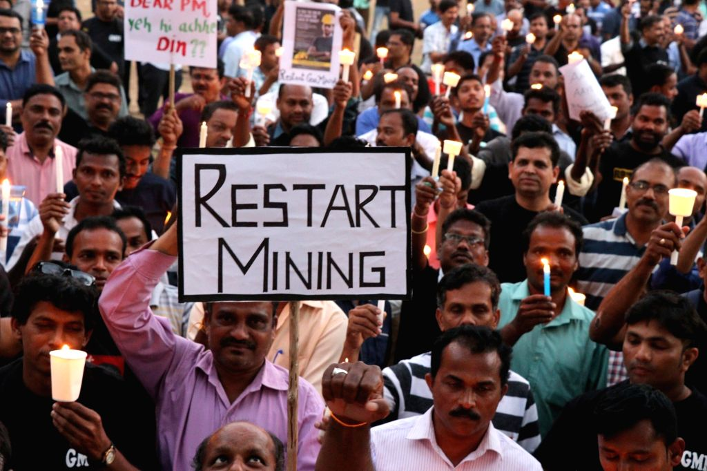 Members of Goa Mining People's Front participate in a demonstration to press for resuming mining in the state, in Mirmar on Feb 8, 2019.