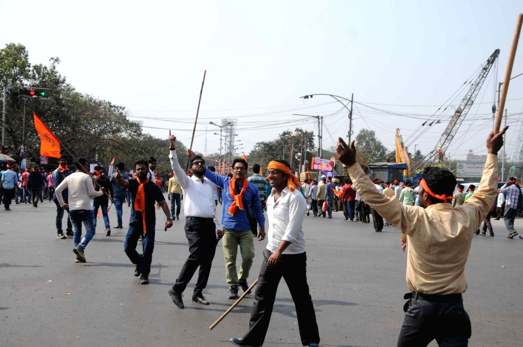 Members of Hindu Samhati participate in a rally on their foundation day in Kolkata on Feb 14, 2018.