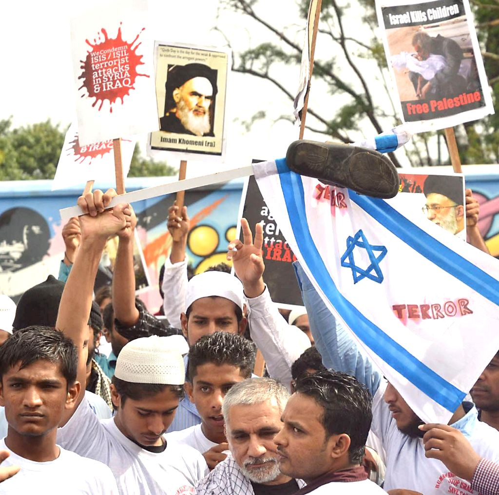 Members of Human Rights Council of India demonstrate against Israeli attacks on Gaza in Bangalore on July 27, 2014.